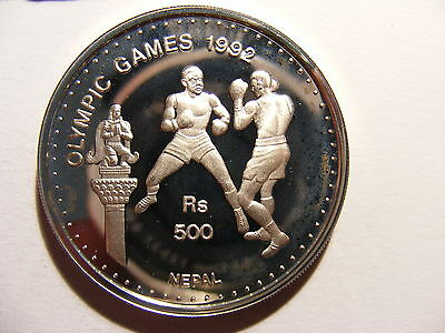 Nepal Shah Dynasty 500 Rupee, 1992, 1992 Olympic games - Barcelona, Silver Proof