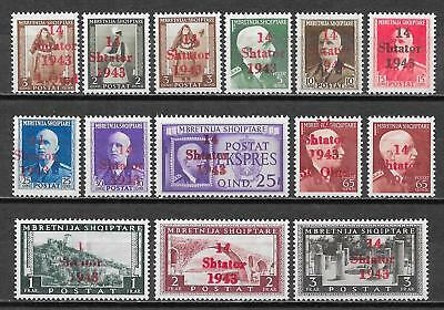 German Occupation Albania stamps 1943 MI 1-14 MNH VF