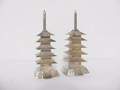 Pair Sterling Silver Pagoda Salt & Pepper Shakers