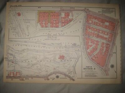 Antique 1955 New York City Manhattan Map The Cloisters Fort Tryon Park Detailed