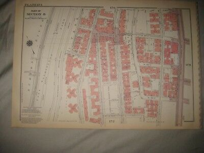 Antique 1955 Harlem New York City Manhattan Map Fort Washington Park Projects Nr