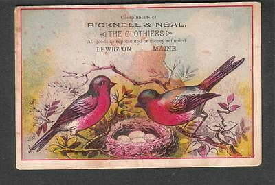 advertising card Bicknell & Neal Clothiers Lewiston Maine
