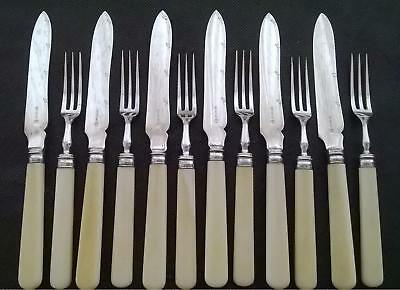Antique Fruit Dessert Cutlery Set - Silver Plated with Cream Handle Atkins Sheff