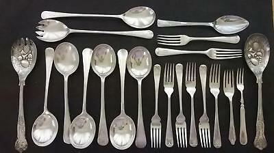 Lot of Antique/Vintage Cutlery - Spoons Forks Berry Spoons Salad Servers etc