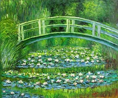 Hand Painted Oil Painting Repro Japanese Bridge over Water Lily Pond 20x24in
