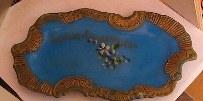antique candy glass plate-Sonvenir of Amhersdt Mass flowers blue with gold edges