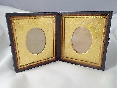 Antique Daguerreotype Double Frame with Embossed Gold Matting Folding Case
