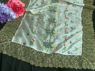 ANTIQUE French EMBROIDERY on SILK FABRIC gold Metallic LACE violets RUNNER 24x58