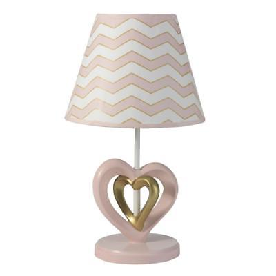 Lambs & Ivy(R) Baby Love Pink/Gold Heart Lamp with Shade and Bulb