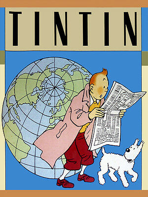 "18""x24""Poster Decor.Home Room Interior design.Tintin reads world news.10594"