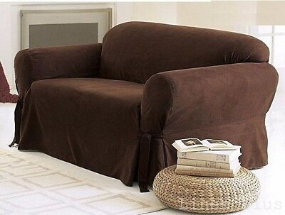 1 Pc Brown Soft Micro Suede Couch Sofa Slip Cover New At Linen Plus