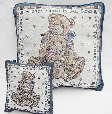 Cherished Teddies Decorative Pillow Lot Friends Come in All Sizes Blue Wall Hang