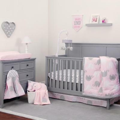 NoJo The Dreamer Collection Elephant Pink/Grey 8 Piece Crib Bedding Set