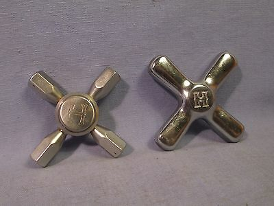 2 Vintage Cross Shape Faucet Handles /    AT 66