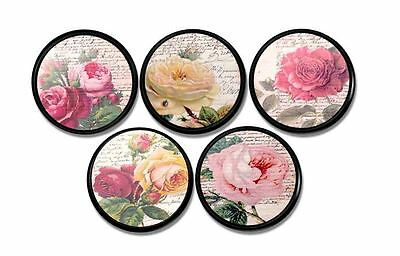 Drawer Pull - Shabby Country French Cottage Rose Cabinet Knob - Pink, Yellow