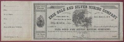 Erie Gold And Silver Mining Company Stock Certificate, Austin, Nevada Territory
