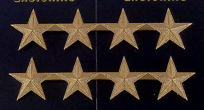 "4 stars 1"" CORRUGATED GOLD Pair Collar Pins Rank Insignia police/chief/deputy"