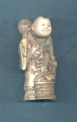 Man With Basket Of Fruit Stunning Hand Carved 3.5 In Okimono Figurine 900