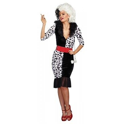 Cruella Deville Costume Adult Halloween Fancy Dress