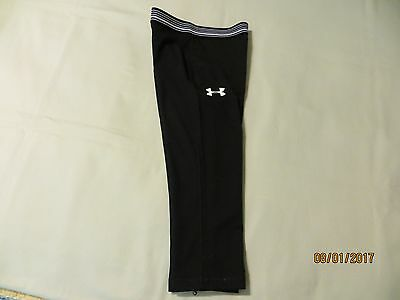 Boys or Girls Size 6 Black UNDER ARMOUR Pants Tights With Striped Waist Band EUC