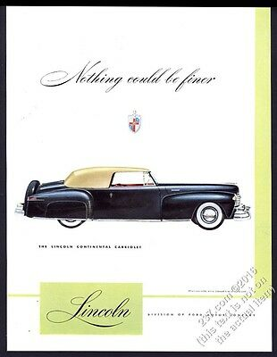 1947 Lincoln Continental Cabriolet black car art vintage print ad