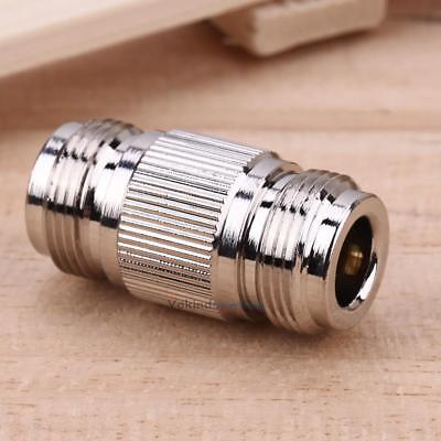N Type Female to Female Copper Jack RF Coax Connector Adapter Silver