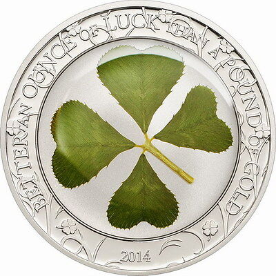Palau 2014 Ounce of Luck 5 Dollars 1oz Silver Coin,Proof
