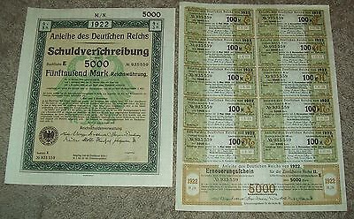 1922 German Bonds Uncut Sheet of 11 Coupons 5000 MARK Nice History