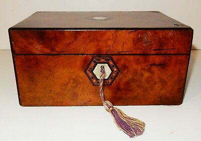 Antique Burl Walnut Box with Parquetry & Mother of Pearl