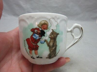 Vintage Buster Brown child's shoe advertising cup. Tea time with dog