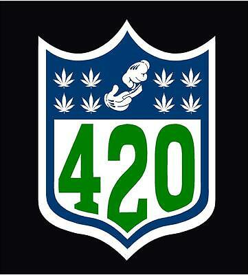 "NFL 420 Marijuana Weed Vinyl Decal Sticker 5"" Car Vehicle Spoof Funny Leaf"