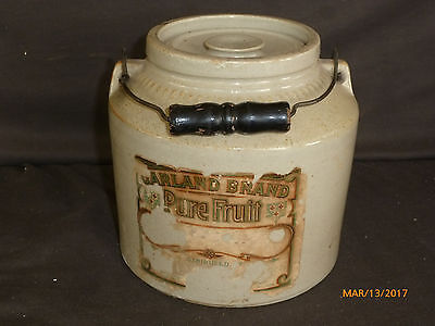 Antique Stoneware Pottery Crock w Bail Handle and Lid Garland Brand Fruit Label