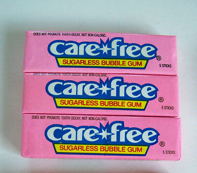 Vintage Care Free Bubblegum Sugarless Chewing Gum 3 Packs NEW in Wrapper