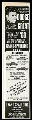 1968 Mr. Norm Grand Spaulding Dodge Chicago Charger RT Magnum Dart GTS print ad