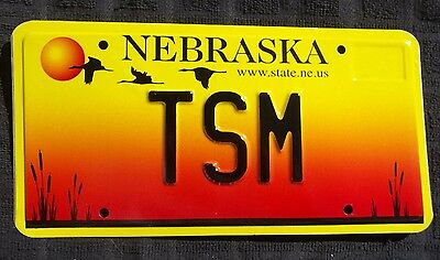 "Nebraska Vanity License Plate "" Tsm "" Tom Ted Tony Tim Terry Miller Martin Moore"