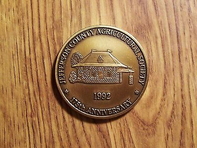 1992 Jefferson County Argicultural Society 175Th. Anniv. Token (203)