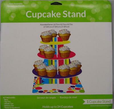Multi Coloured Three Tier Cup Cake Stand Birthday Party Wedding Display