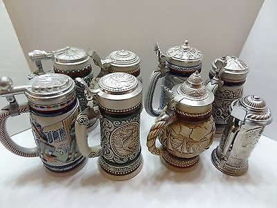 Lot Of 8 Avon Ceramic Steins Stein With Boxes Baseball Hunters Iron Horse Planes