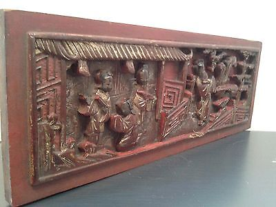 Antique  Chinese  Carved  Temple  Panel  Set  In  Rosewood