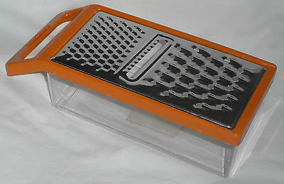 Orange GRATER With CATCHER TRAY NEW Kitchen Cooking  Slicer Carrot/Cheese/Potato