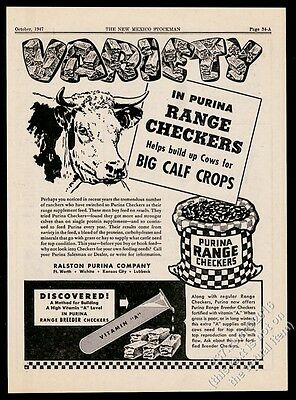 1947 cow art Purina Range Checkers feed vintage print ad