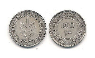 1939 Palestine 100 Mills Silver Coin in Very Fine to Extra Fine -- KM #7 ~