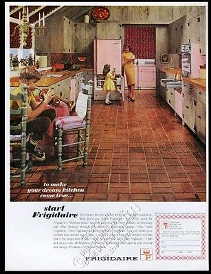 1963 Frigidaire Flair pink pull-out range double oven fridge photo print ad