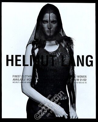 2001 Helmut Lang fashions woman in black veil photo vintage print ad