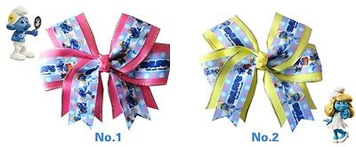 """16 BLESSING Happy Girl 4.5"""" Smurfs Cheer Hair Bow Clip Moana Hairbow Baby"""