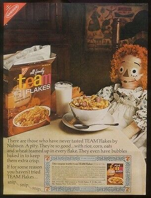 1966 Raggedy Ann doll photo Nabisco Team Flakes cereal vintage print ad