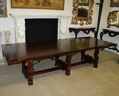Antique Style Country French 12ft Handmade Solid Hardwood Dining Table w/ Iron