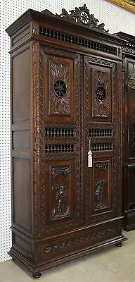 Beautiful Antique Carved French Breton Armoire, Wardrobe Circa 1890