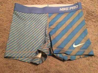 Nike Pro Compression Shorts Women Sz S Blue Gray