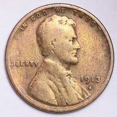 1913-S Lincoln Wheat Cent Penny NICE!